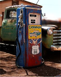.old truck and gas pump