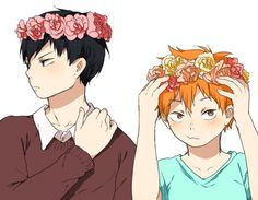kagehina with flower crowns for hq69min on... - ( *`ω´)