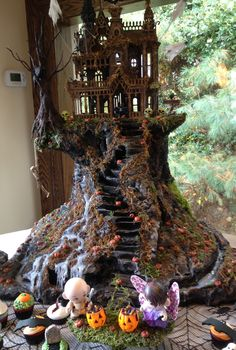 Haunted House made out of foam, hot glue and wood