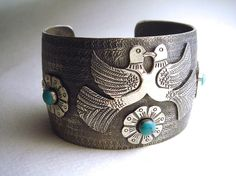 Love Birds Mexican Silver Cuff Bracelet with by tesoromexicano, $44.95