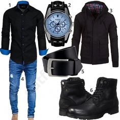 and blue men's outfit with Amaci & Sons shirt, Fossil wristwatch, Black Young & Rich transitional jacket, Lindenmann full leather belt, Jack & Jones boots and MT Styles jeans. Mens Boots Fashion, Big Men Fashion, Fashion Photo, Fashion Trends, Timberland Outfits Men, Mode Man, Stylish Mens Outfits, Neue Outfits, Men Stuff