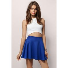 Tobi Drifting Away Together Skirt (48 AUD) ❤ liked on Polyvore featuring skirts, cobalt, pleated skirt, a line skirt, knee length a line skirt, pleated circle skirt and flared a line skirt