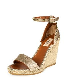 Metallic Leather Rockstud Espadrille Sandal, Skin/Light Cuir by Valentino at Bergdorf Goodman.