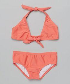 Look at this #zulilyfind! Coral Bikini - Toddler & Girls by Lemons & Limes Kids Swimwear #zulilyfinds