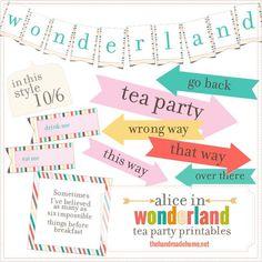 alice in wonderland tea party free printables| the handmade home