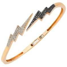 Bee Goddess Black Diamond Lightning Bracelet (16.290 BRL) ❤ liked on Polyvore featuring jewelry, bracelets, accessories, jewels, joias, lightning bolt jewelry, 14 karat gold jewelry, sparkle jewelry, black and white jewelry and 14k jewelry