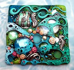 Mosaic Art Tile Coral Reef Tropical Fish and Seahorse Suncatcher OOAK