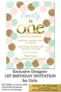 First Birthday Invitation Girl, Blush Pink Mint + Gold Polka Dots, 1st Birthday Invitation for GIRLS, This invitation design is simply stunning and so popular in luscious pastel colors.  Exclusive designer invitation by Starlite  http://starliteprintables.indiemade.com/product/blush-pink-mint-and-gold-glitter-1st-birthday-invitation-polka-dots-any-age