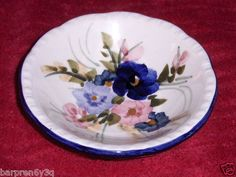 Vtg Floral Pin Dish Israel Pink Blue Purple Flowered Ceramic Ring Jewelry Plate on eBay!