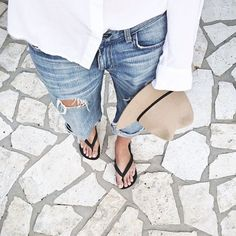 boyfriend jeans and button up