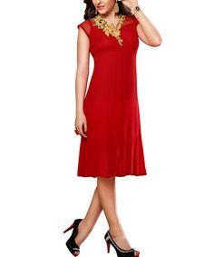 Another great find on #zulily! Red & Gold Floral-Collar Cap-Sleeve Dress - Women by Vasundhara Fashions #zulilyfinds