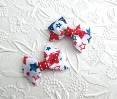 "4th of July Pigtail Hair Clips, 2"" Hair Bows, Pigtail Hair Bow Clips, Patriotic Hair Bow, Tiny Hair Bows, Baby Hair Bows, Toddler Hair Clips"