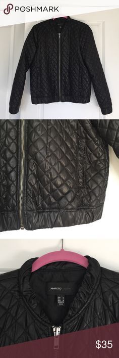 Quilted Bomber Jacket Quilted bomber jacket by Mango. 100% polyester outer and inner, fully lined. Excellent condition, barely worn, like new. Jacket had a semi-shiny sheen to it. Great jacket for this season and totally on trend. Mango Jackets & Coats