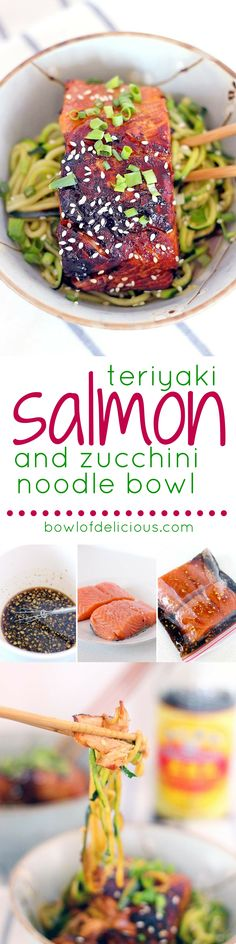 This healthy low carb Teriyaki Salmon and Zucchini Noodle Bowl takes a mere FIFTEEN MINUTES to make and is bursting with that awesome Asian flavor you crave. This healthy low carb Teriyaki Salmon and Zucchini Noodle Bowl takes a Salmon Recipes, Fish Recipes, Seafood Recipes, Low Carb Recipes, Cooking Recipes, Healthy Recipes, Seafood Dishes, Recipies, Seafood Meals