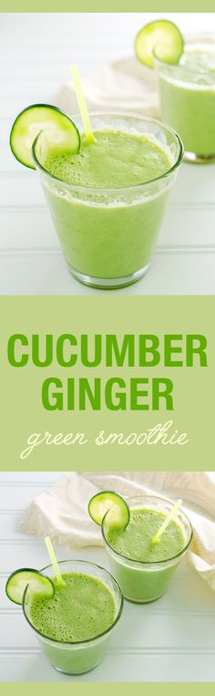 Cucumber Ginger Green Smoothie - a fresh and soothing vegan and dairy free recipe. Add Fresh Cucumber balsamic for a flavor and antioxidant boost! Smoothies Vegan, Green Smoothie Recipes, Breakfast Smoothies, Green Smoothies, Ginger Smoothie, Juice Smoothie, Smoothie Drinks, Cucumber Smoothie, Smoothie Cleanse