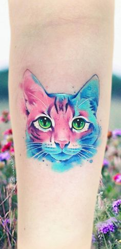 Stunning Watercolor Tattoos by Adrian Bascur - watercolor cat tattoo © tattoo artist Adrian Bascu r 💕😻💕😻💕😻💕 The Effective Pi - Trendy Tattoos, Popular Tattoos, Unique Tattoos, Cute Tattoos, Beautiful Tattoos, Girl Tattoos, Feminine Tattoos, Tatoos, Watercolor Cat Tattoo