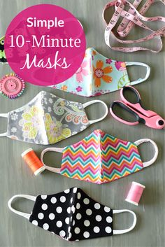 Simple Face Mask Pattern that is easy to make and comfortable to wear. Available in 5 sizes for all ages. #masks #maskpattern #sewing Scrap Fabric Projects, Small Sewing Projects, Sewing Projects For Beginners, Sewing Hacks, Sewing Crafts, Sewing Diy, Simple Knitting Projects, Simple Projects, Simple Crafts