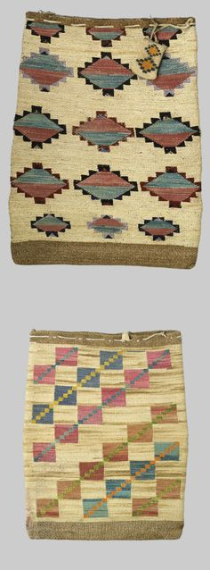 Two Plateau cornhusk bags  Decorated with yarns and dyed cornhusks in distinct geometric patterns, differing from front to back, the largest with a tiny cornhusk pouch attached at top.  length 23 and 19 1/2in