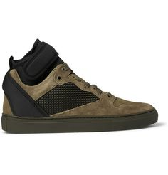 Suede, Neoprene and Mesh High-Top Sneakers | MR PORTER