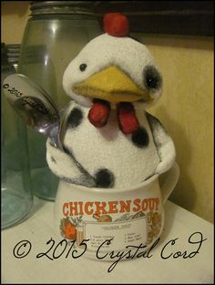 Whimsical white black dot Chicken doll in a soup cup by emsprims