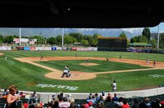 Baseball field in Salt Lake City Utah. The field is currently known as Smiths Ballpark. Photography by David E. Minor League Baseball, Salt Lake City Utah, Interesting Buildings, Will Smith, Baseball Field, Bees, Fields, Angels, Diamonds