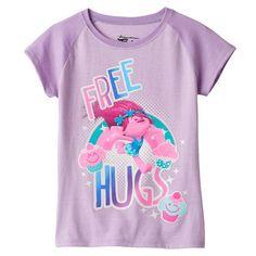 "Girls 4-6x DreamWorks Trolls Poppy ""Free Hugs"" Raglan Tee, Lt Purple"