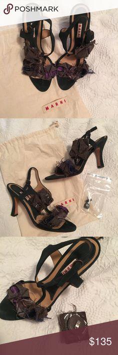 Embellished Marni Heel sandal EUC Sz 39.5 detachable tweed brooch, deep green suede sandal. size 39.5 fits like 8-8.5. Marni Shoes Sandals