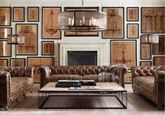 Muy bonitas imágenes del nuevo catálogo de Otoño de  RestorationHardware . Nobles maderas y textiles exquisitos, mobiliario elegante y con...
