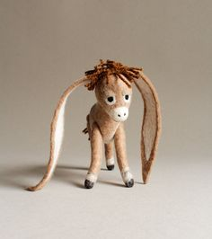 Nestor - The Long-Eared Christmas Donkey. Art Toy. Standing Felted Stuffed. beige brown tan cream. MADE TO ORDER