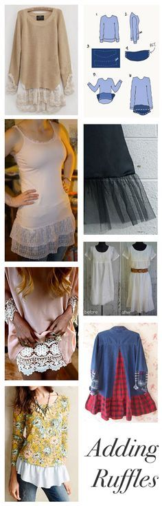 Add length to short tops dresses with ruffles | See more about Short Tops, Ruffles and Shorts.