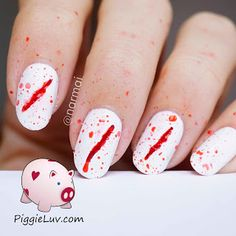 Ouch! Something got me! Did any of you see what it was? Man, this hurts.... Gory Halloween nails are right up my alley :) I'd do them all year round if it didn't scare people so much! Want to find out how to make this bloody nail art design for yourself? There's a video tutorial on the blog!