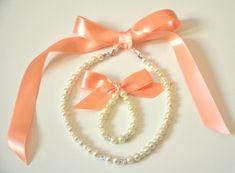 a79b5ff8e37d Flower girl jewelry set ribbon adjustable necklace and stretchy bracelet  with swarovski crystal balls wedding jewelry