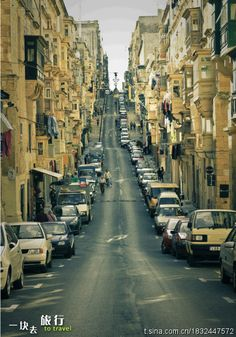 """a street of Valletta, the capital of Malta, like the city in the movie of """"inception"""""""