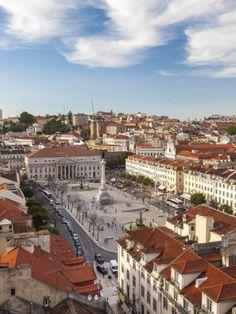 View over Rossio Square, Praça Dom Pedro IV, Lisbon, Portugal