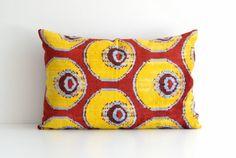 Silk Velvet Ikat Pillow  16x24 Handwoven Red Yellow by pillowme, $65.00