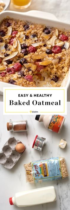 Healthy Baked Oatmeal: The Easiest Make Ahead Method. If you're looking for overnight breakfast recipes and ideas, try this easy, basic and healthy breakfast! You'll need butter, eggs, milk (dairy or non dairy), maple syrup or brown sugar, vanilla, cinnamon, rolled oats, nuts, fruit (like apples or berries like strawberries raspberries or blueberries), coconut, toasted coconut.