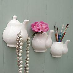 Porcelain Teapot Wall Vase And Hook