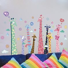 Amaonm Removable 3D Creative Cartoon Colorful Animals Giraffe Wall Decals Kids Rooms Stickers Rainbow Multicolor Giraffe Wall art carft Decor Wallpaper for Nursery Room Living room ** Details can be found by clicking on the image.