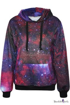 This hoodie is out of this world! Haha, I'm punny. Get it here: http://www.beautifulhalo.com/purple-galaxy-print-hoodie-p-128206.html