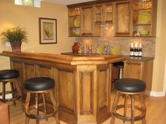 : Great Kitchen Bar Design Interior With Wooden Bar Stools Combined With Black Leather Seat Furniture And Wooden Cabinet Design Ideas
