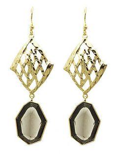 Hammered Metal Stone Drop Earrings from Helen's Jewels