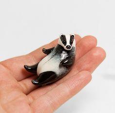 Badger Figurine OOAK Handmade Polymer Clay by RamalamaCreatures