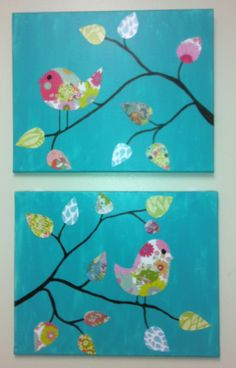 Painted Canvas with Scrapbooking Paper cut into Shapes and glued on