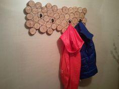 Rustic coat rack in modern minimalist home Rustic Coat Rack, Wood Slices, Modern Minimalist, Design, Wood Rounds, Wood Boards