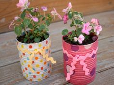 Trash to Treasure   This simple spring craft (polka dot tissue paper + soup can = flower pot) is as much a lesson in upcycling as it is a creative afternoon activity