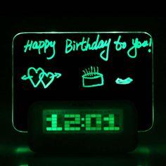 Digital LED Light Fluorescent Message Board Thermometer Calendar Alarm Green travel clock digital calendar led message board
