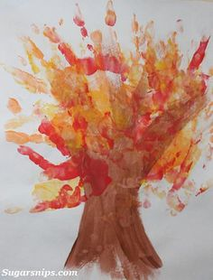 Handprint Fall Trees by Sugarsnips