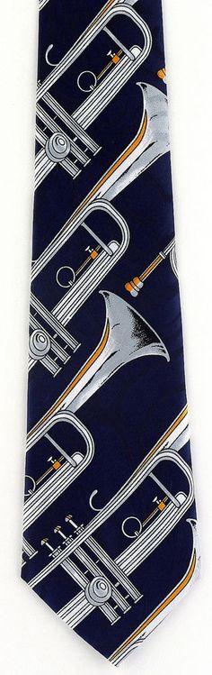 New Silver Trumpets Mens Necktie Musical Instrument Trumpet Music Blue Neck Tie #StevenHarris #NeckTie