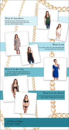 Summer Statements - Body Chains http://toyastales.blogspot.com/2013/06/summer-statements-body-chains.html They're edgy, yet chic. They're light and cool. They can be slight and subtle, perfect for adding that finishing touch of shimmer to a simple outfit, or they can drape in luxe multi-strand layers for an intense diva experience. And they're a perfect accessory for any summer scene...Click On Link to Read More #fashion #jewelry #toyastales #bodychains #summer