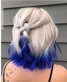 Wonderful Blue Dyed Platinum Blonde Hair Color and Hairstyles this year . - Wonderful Blue Dyed Platinum Blonde Hair Color And Hairstyles To Consider This Year … - Blonde And Blue Hair, Platinum Blonde Hair Color, Hair Color Purple, Hair Dye Colors, Cool Hair Color, Blonde Dip Dyed Hair, Dyed Ends Of Hair, Ombre Colour, Pastel Blue Hair